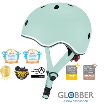 法國 GLOBBER哥輪步 GO‧UP 附三段警示燈 兒童戶外活動/運動防護安全帽XXS~XS-馬卡龍綠
