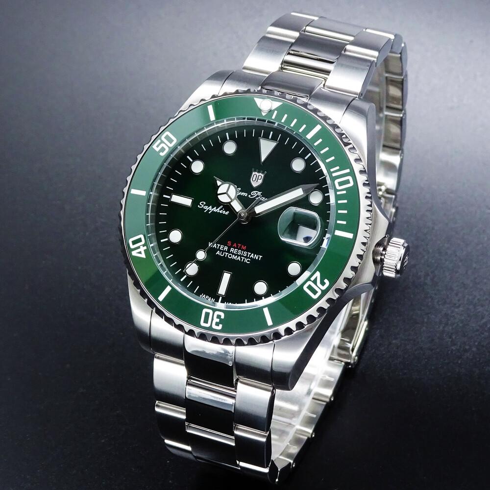 olym pianus 奧柏表綠水鬼超強夜光運動型機械腕錶/43mm-綠框-899831.2ag2s