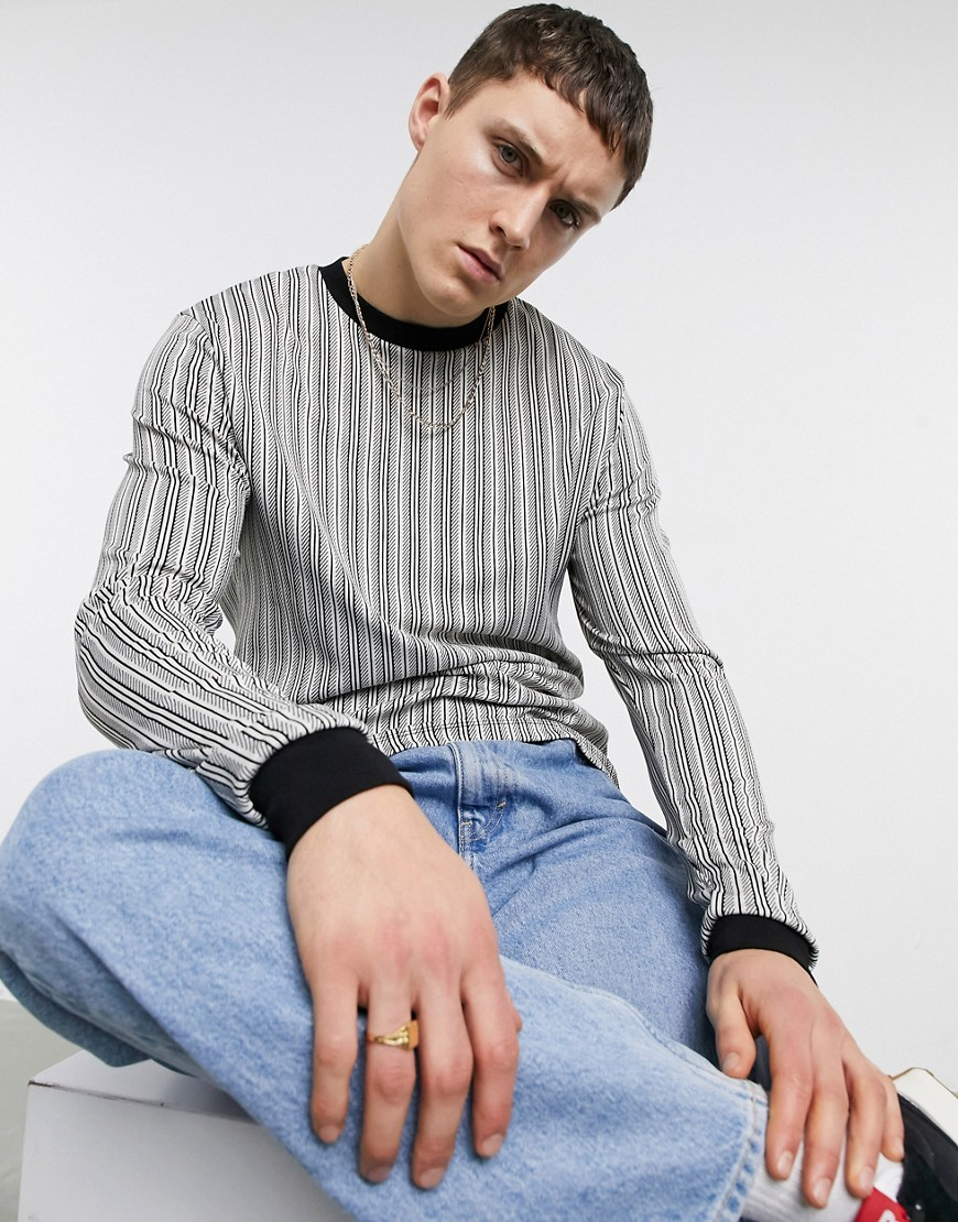 ASOS DESIGN long sleeve stripe t-shirt in black and white