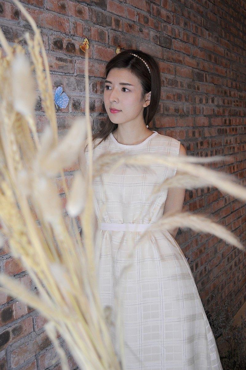 Rapunzel格紋拼淡粉連身裙(雙面穿)
