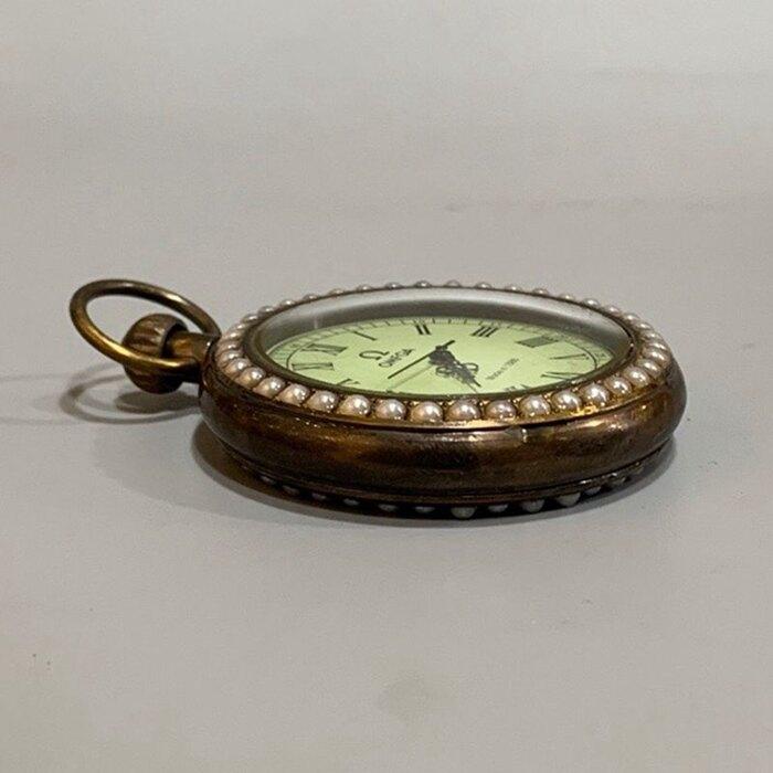 古玩雜項仿古懷表名表復古歐式宮廷鑲珍珠老掛表仿古純銅機械懷表
