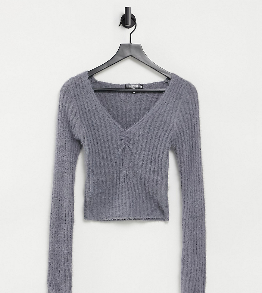 Missguided Tall loungewear co-ord fluffy rib top in grey