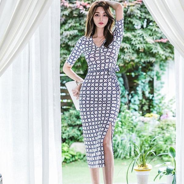 OL洋裝 禮服裙S-XL夏新款韓版時尚氣質顯瘦v領印花收腰系帶中長連身裙1915#H506紅粉佳人