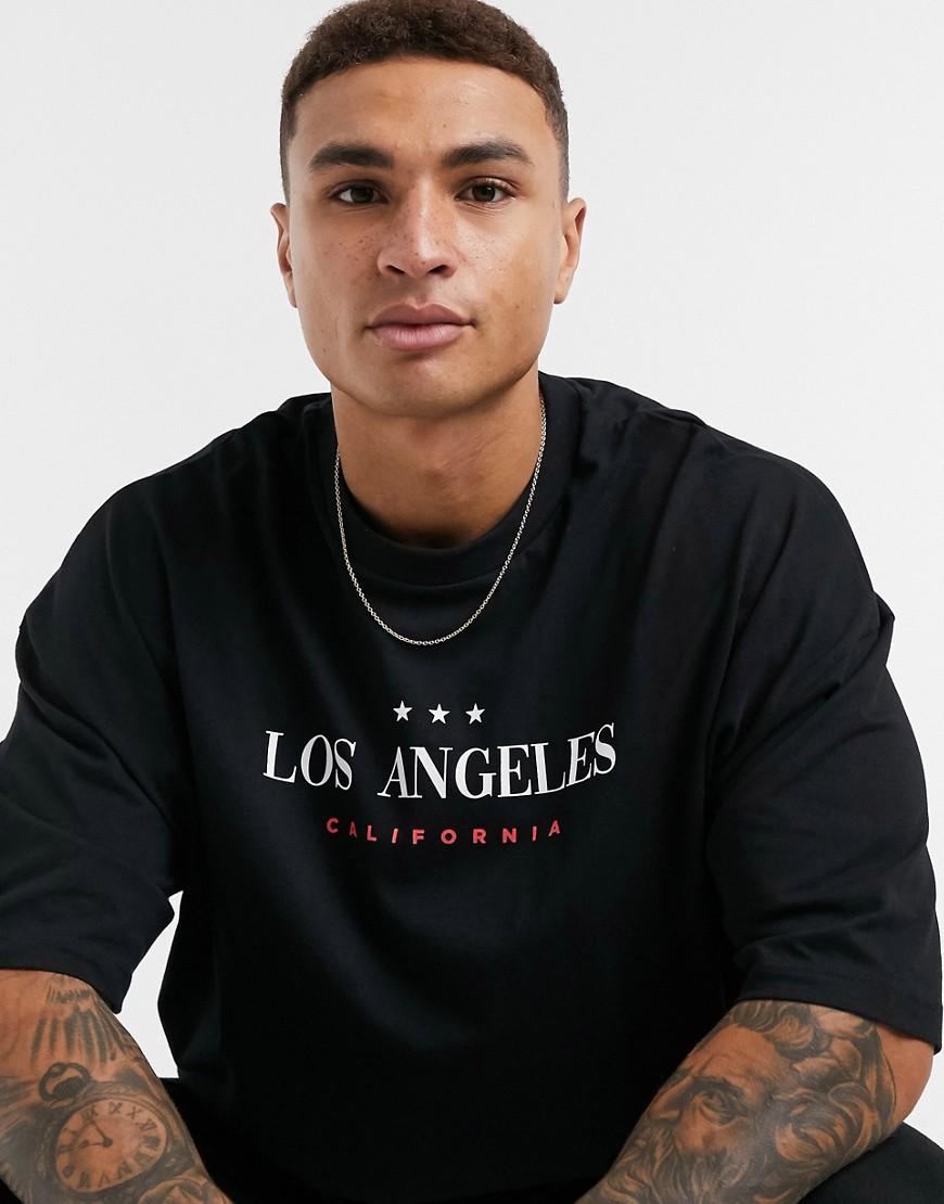 ASOS DESIGN oversized organic t-shirt in black with Los Angeles city print
