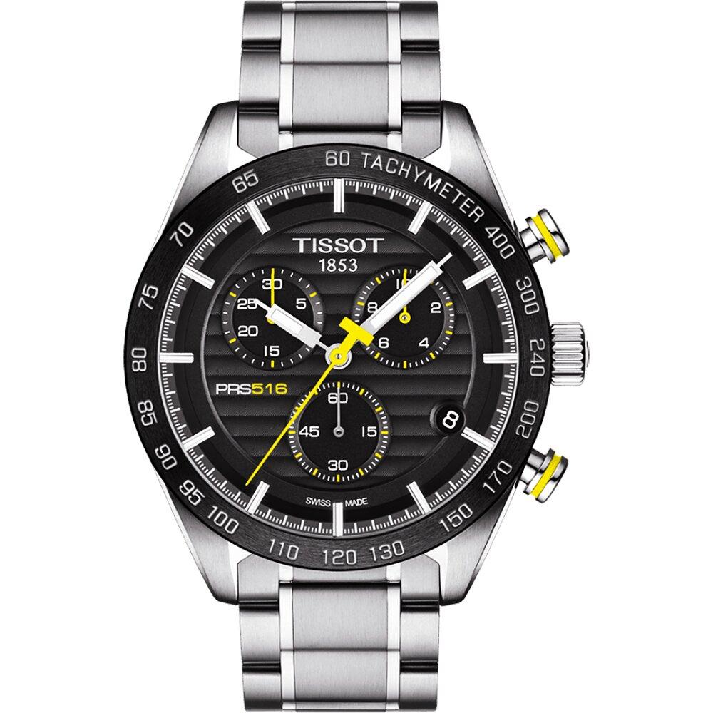 TISSOT PRS516 系列三眼計時腕錶-黑/42mm T1004171105100