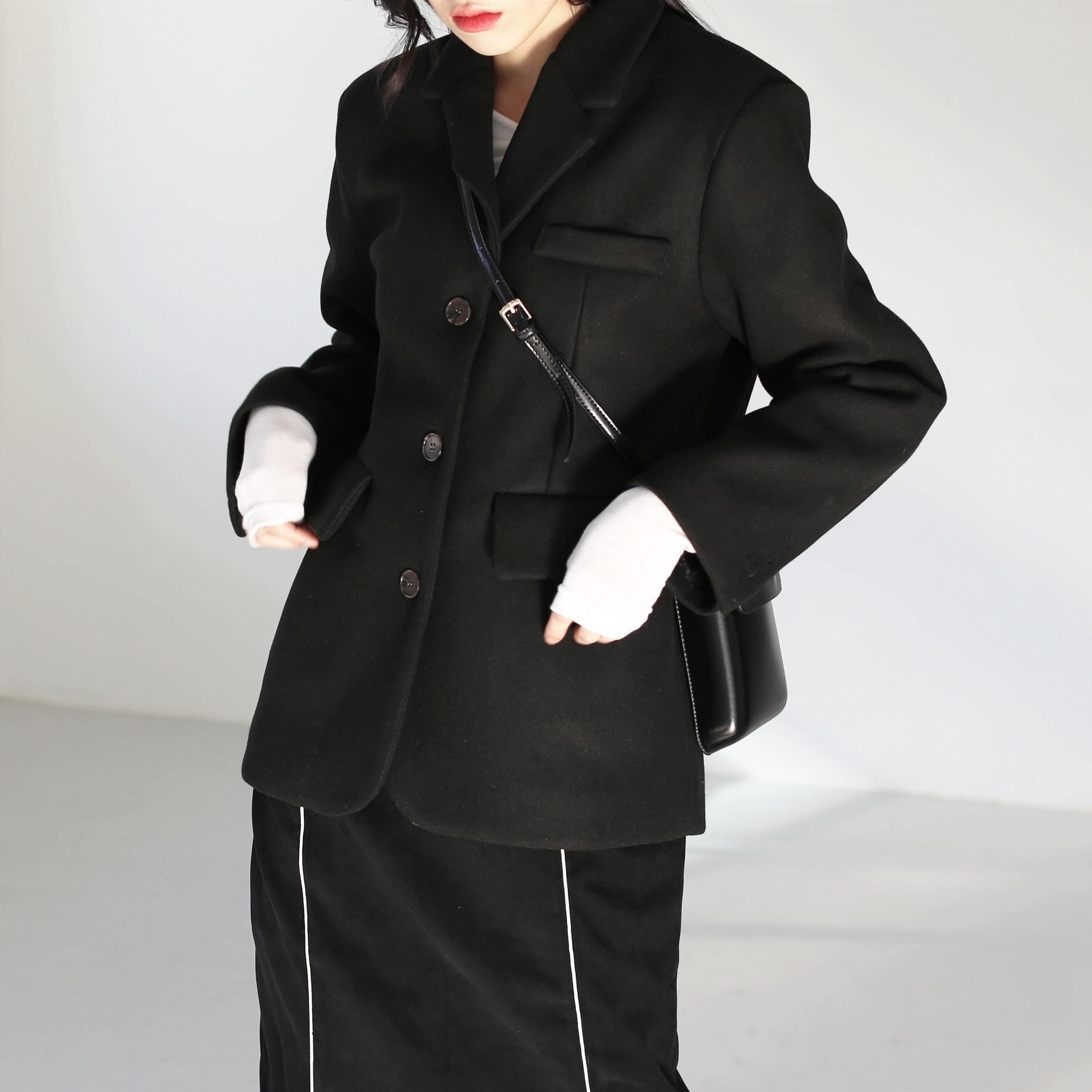 韓國空運 - Title Wool Button Jacket 夾克