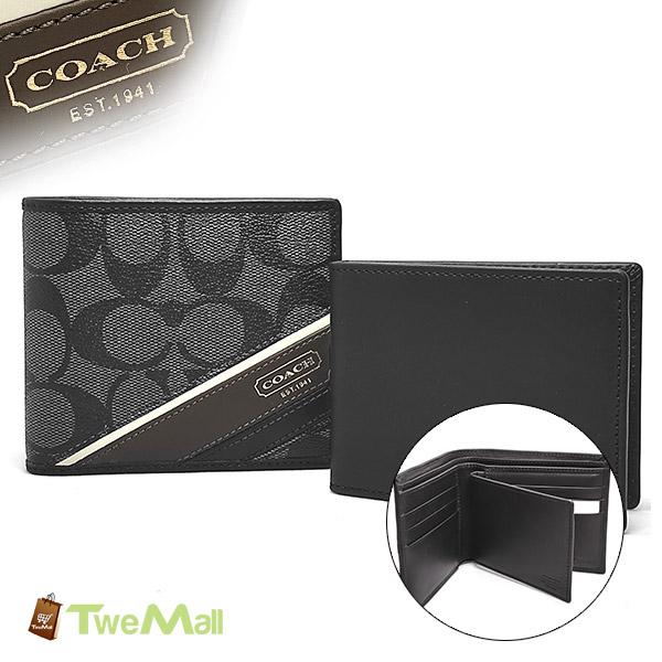 COACH防刮皮革CLOGO縫線邊六卡黑灰中夾短夾(附卡片夾)