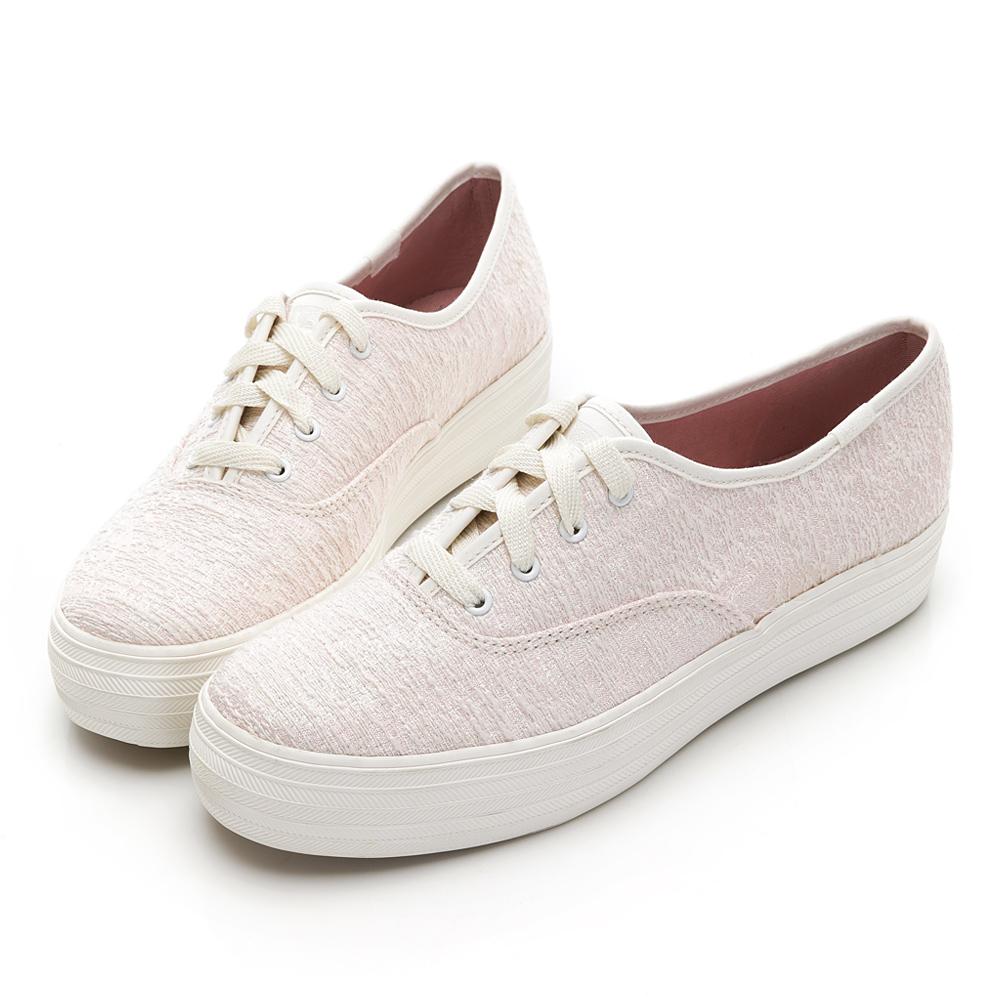 TRIPLE 甜美街拍必備款綁帶休閒鞋-奶油白