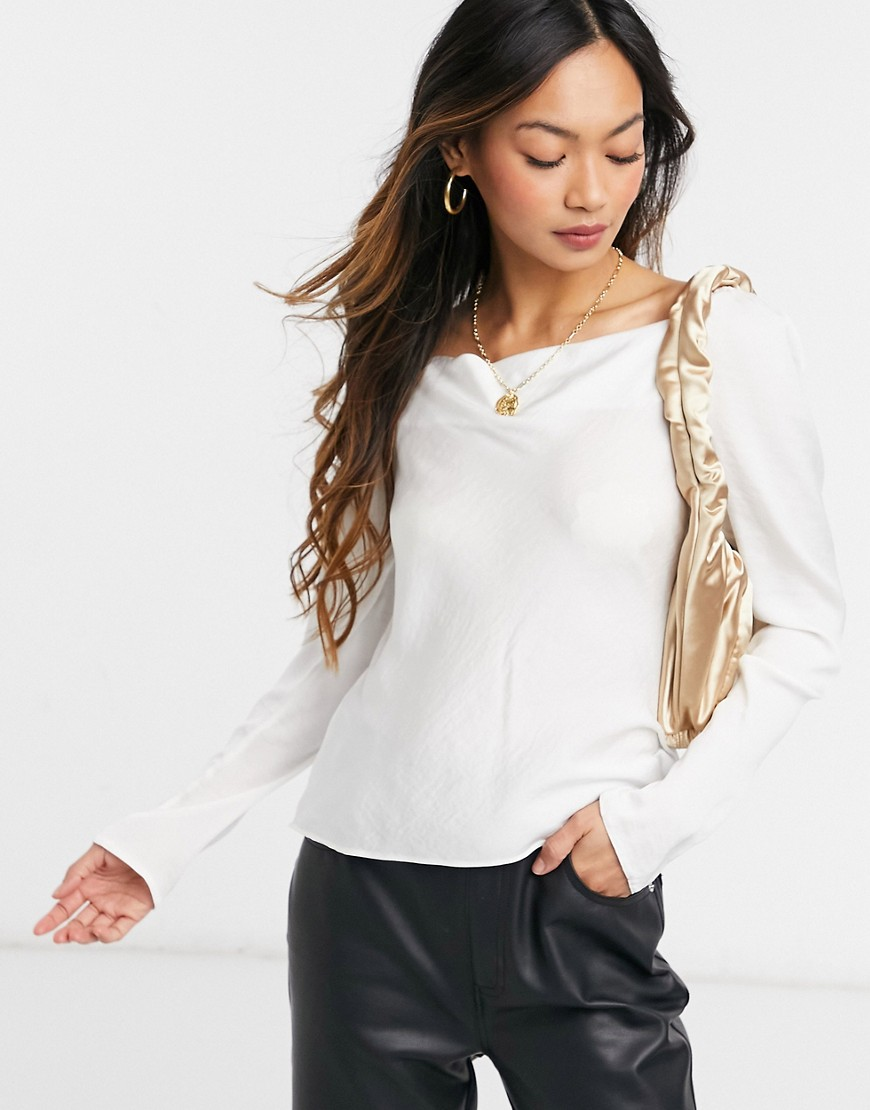 ASOS DESIGN long sleeve bias cut satin blouse with cowl neck in oyster-Neutral