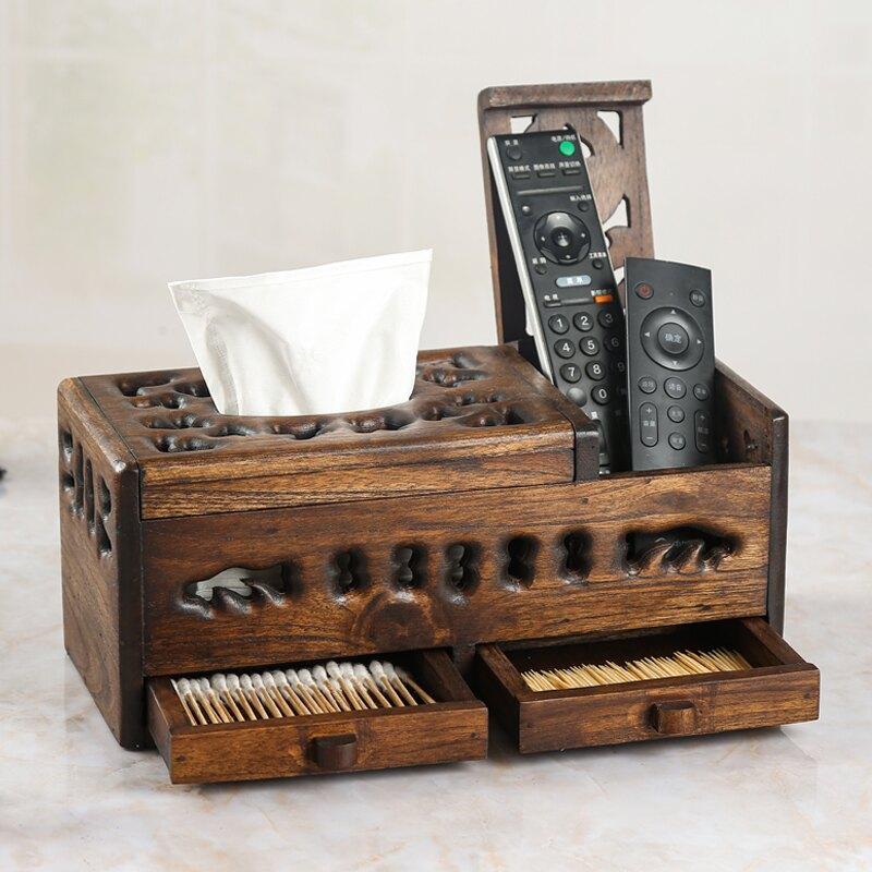 泰國進口紙巾盒實木遙控器收納抽紙盒木質新中式多功能客廳茶幾