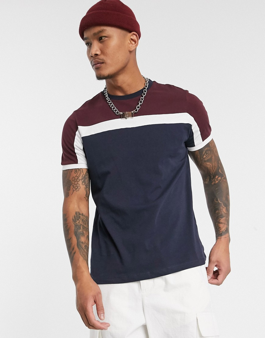 ASOS DESIGN t-shirt with colour block in navy