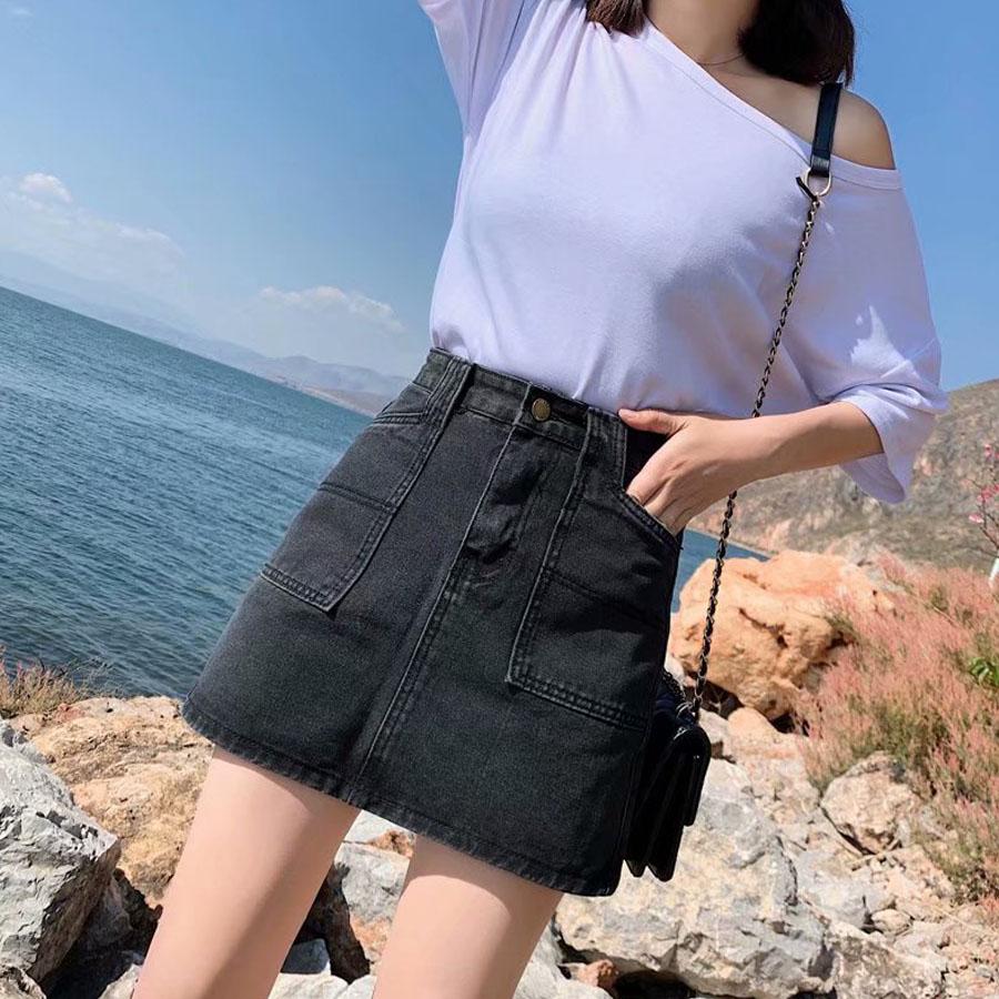 韓版黑色率性A字牛仔裙