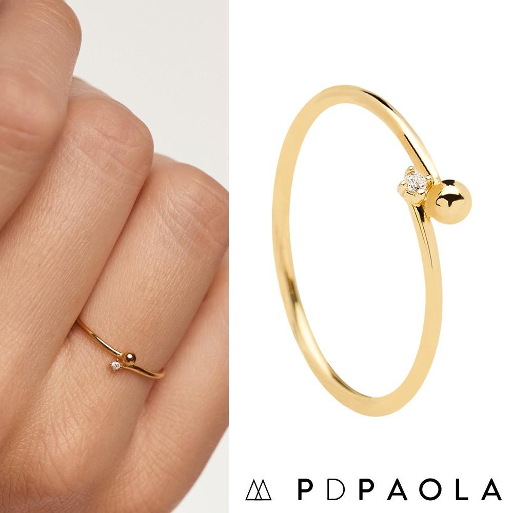 PD PAOLA 西班牙時尚潮牌 簡約星辰豆豆X迷你白鑽戒指 金色 ESSENTIA GOLD