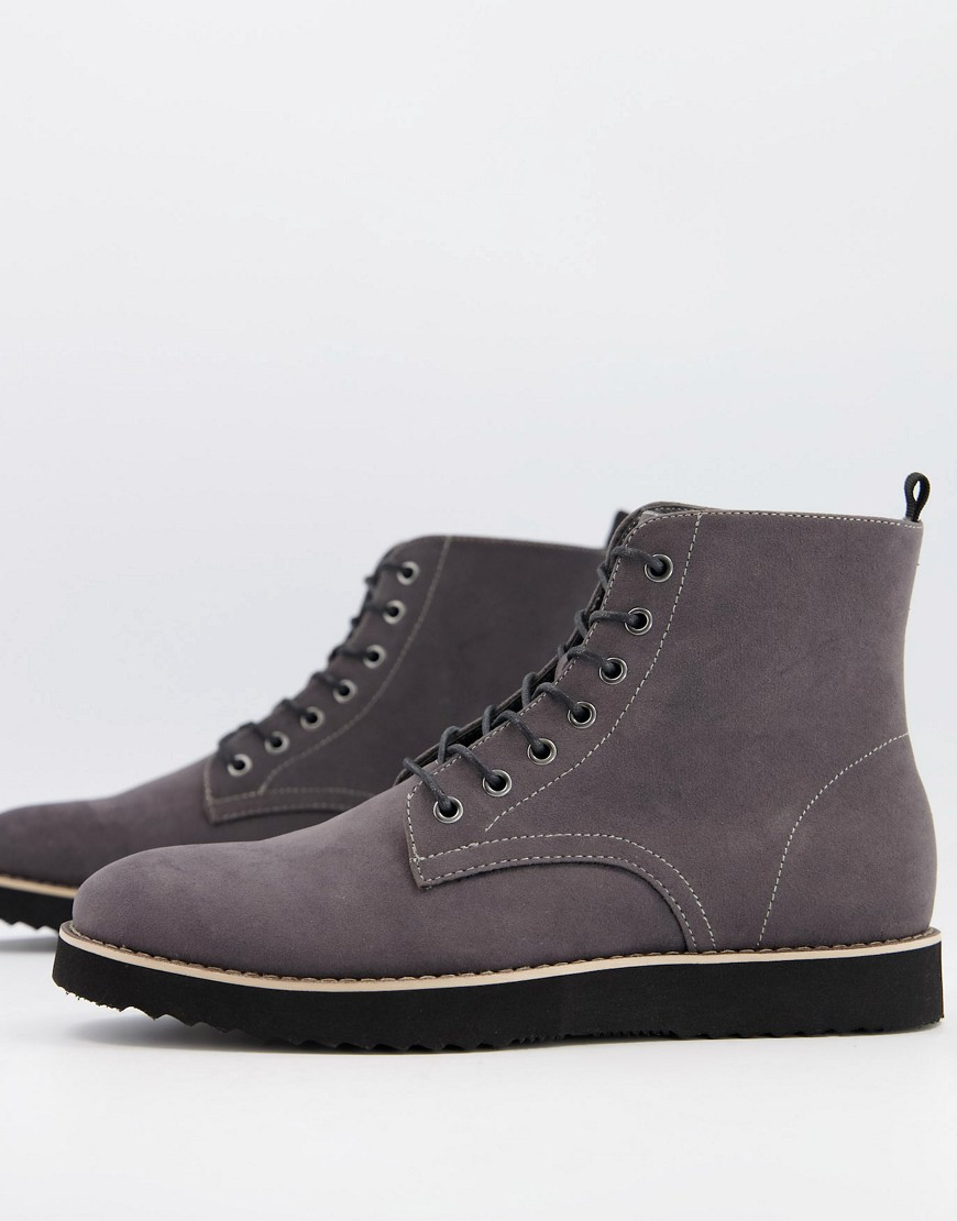 Truffle Collection chunky miminal lace up boots in grey faux suede
