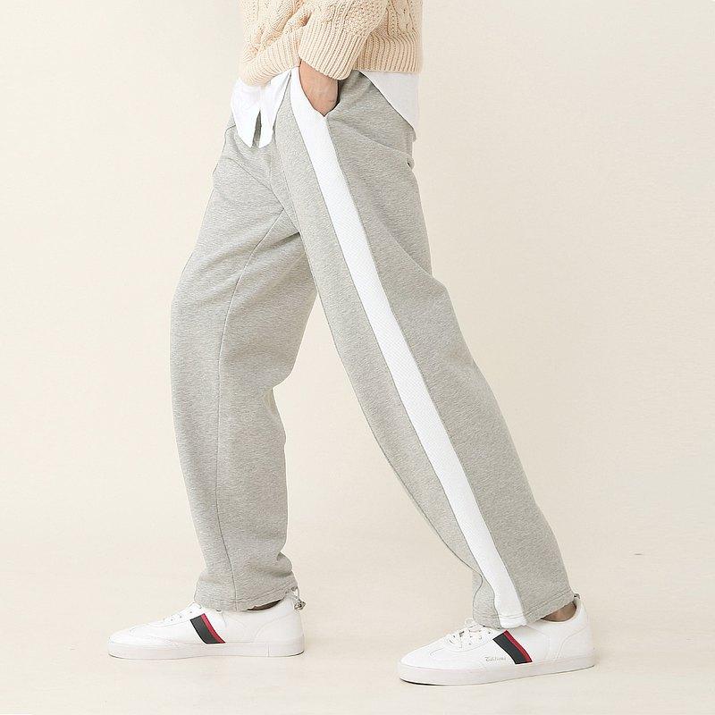 GIGASANSE 灰色純棉厚實設計感衛褲 白色撞布金屬配件束腳運動褲