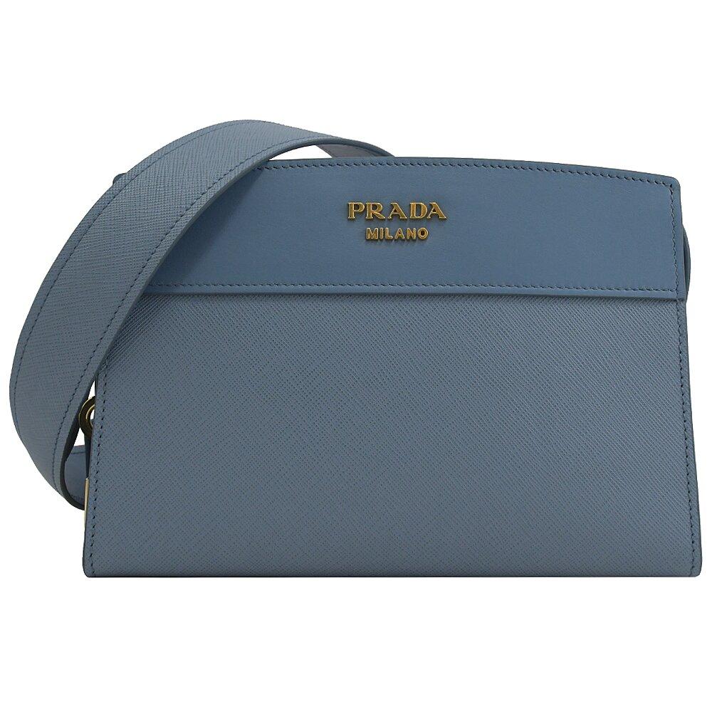 PRADA 專櫃商品 1BH043 浮雕LOGO防刮拼接斜背方包.淺藍