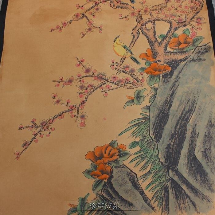 仿古中堂畫字畫影視道具卷軸畫春光明媚圖辦公室書房中堂裝飾掛畫