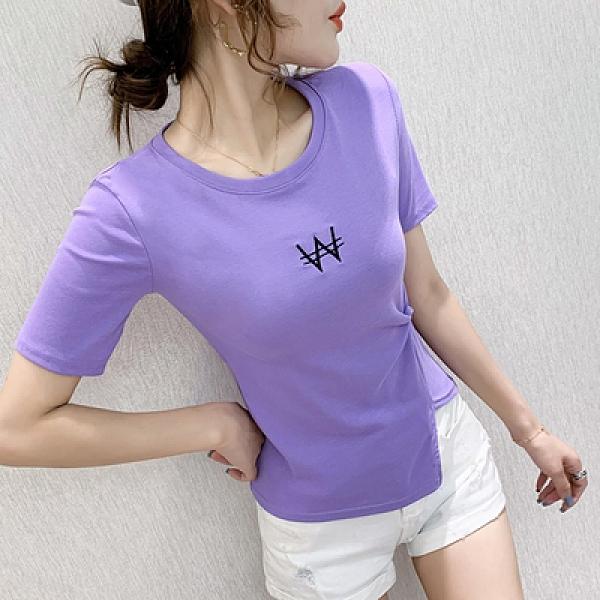 上衣T恤潮流小衫夏季修側邊打結T恤女士短袖身顯瘦短款上衣設計感NA27A紅粉佳人