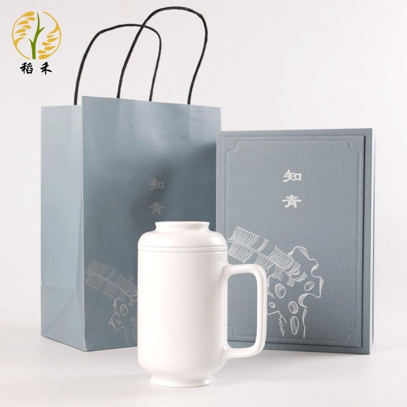 陶瓷杯子辦公室水杯馬克杯帶蓋帶過濾喝茶杯茶水杯白瓷簡約辦公杯