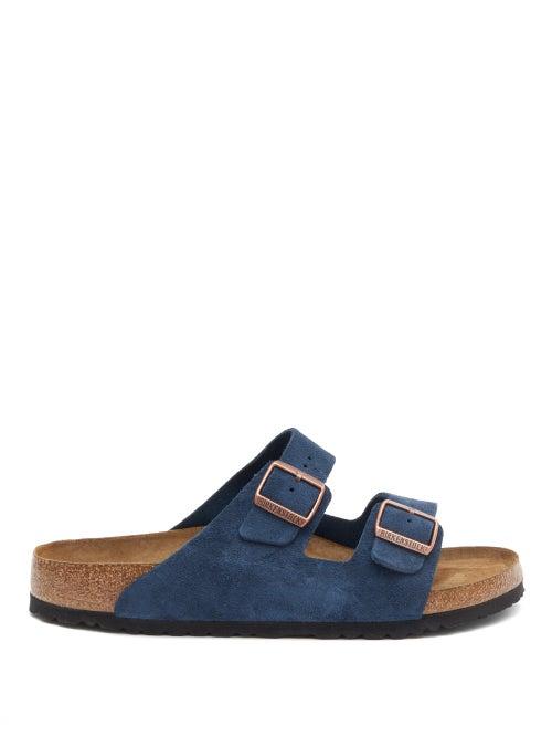 Birkenstock - Arizona Two-strap Suede Slides - Mens - Navy