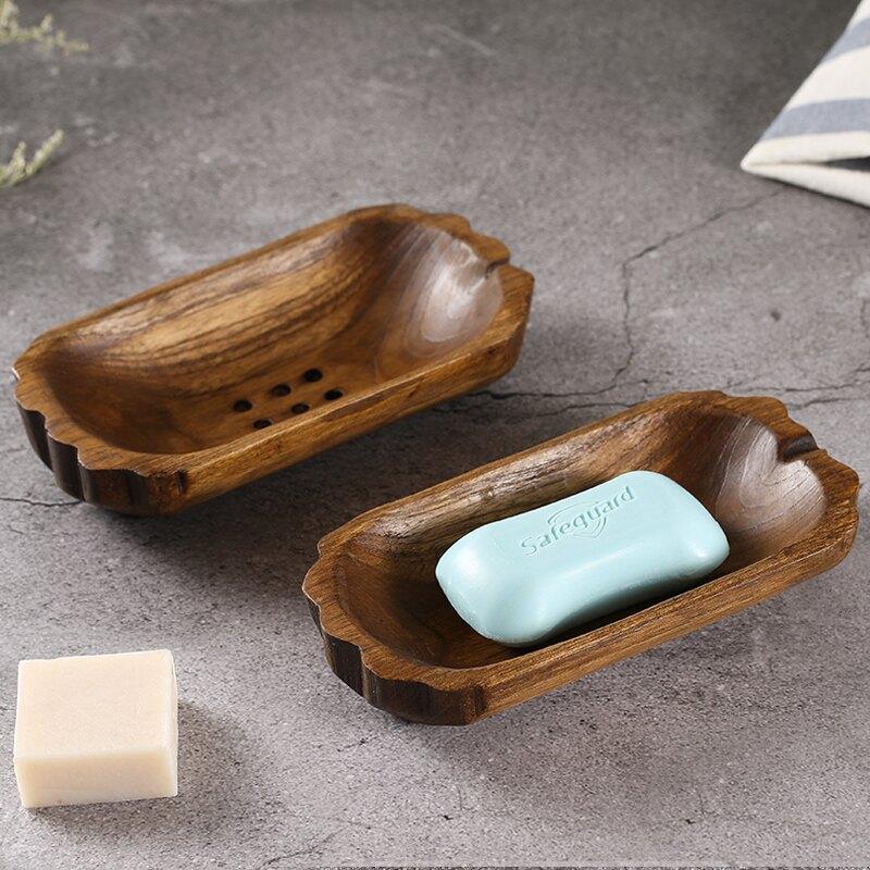 東南亞新款家居裝飾品 手工精油 泰國進口瀝水環保實木洗衣肥皂盒
