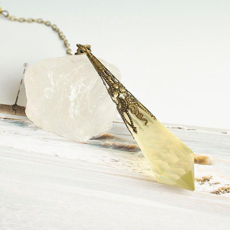 天然水晶靈擺-尊榮與富貴的聚財之石【黃水晶】Citrine/水晶項鍊