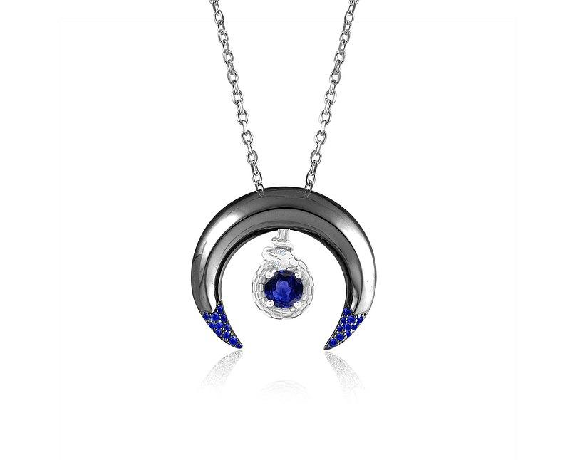 藍寶石三女神項鍊組合 14k金+純銀月牙形套裝吊墜 哥特銜尾蛇墜子