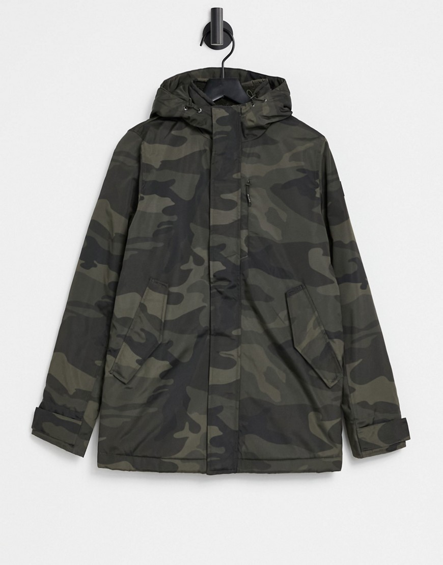 Abercrombie & Fitch hooded technical parka jacket in camo-Green