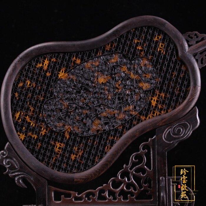 熱賣古玩仿古屏風復古工藝品純手工鑲嵌寶石檀木仙鶴鏤空玳瑁插屏