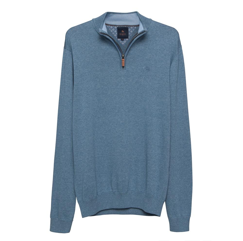 Magee 1866 Carn Cotton ¼ Zip Jumper in Denim Blue