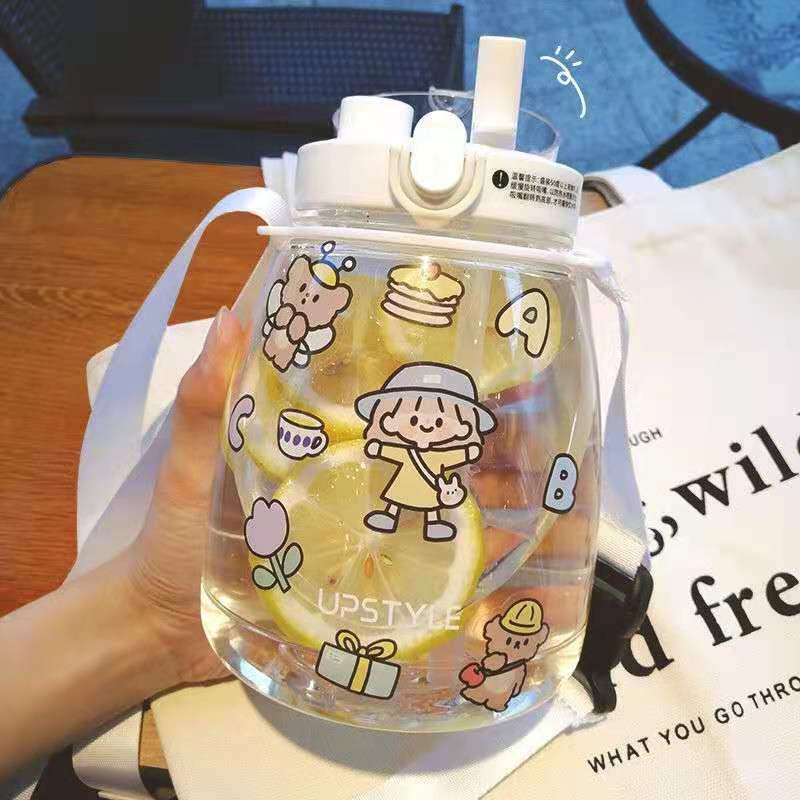 網紅1300ml韓版大布丁塑料杯子可愛學生大容量高顏值雙飲水壺便攜