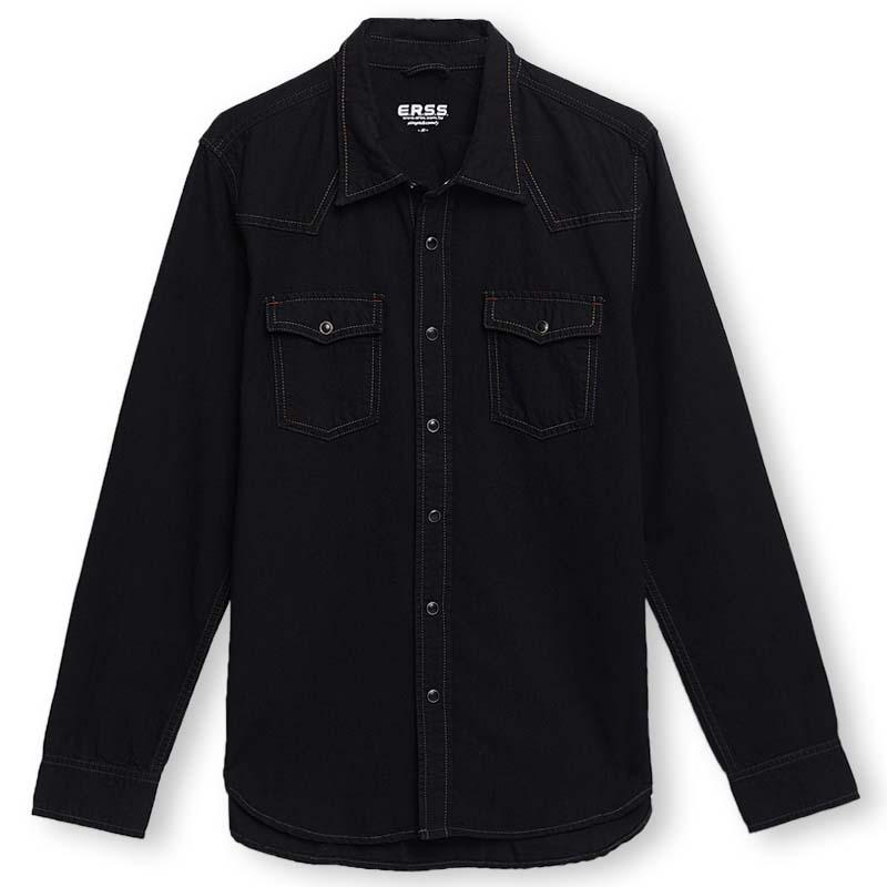 經典牛仔長袖襯衫(黑色)-男