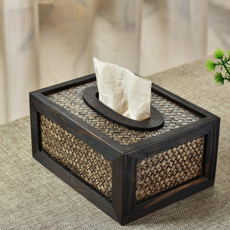 個性竹編紙巾盒木質復古創意客廳家用車用藤編抽紙盒泰國進口
