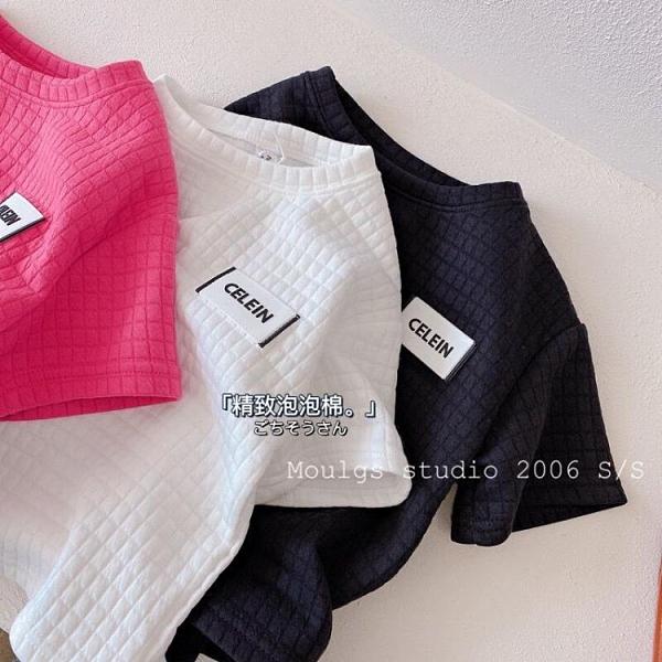 女童方格短袖棉T恤2021春季新款兒童港風ins慵懶寬鬆貼標打底衫潮 幸福第一站
