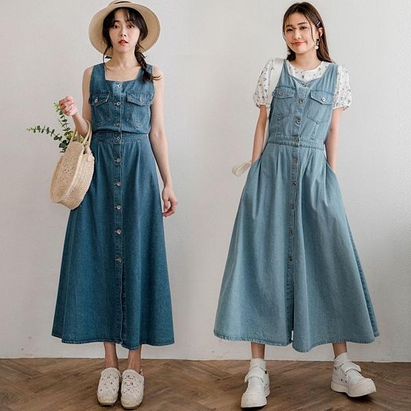 MIUSTAR 雙口袋方領排釦背心式牛仔洋裝(共2色)【NJ0223】預購