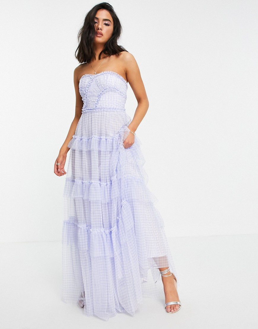 Needle & Thread Caroline maxi dress with ruffles in blue gingham