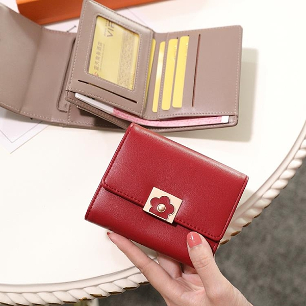 短夾 小ck韓版時尚短款小錢包折疊大容量零錢包女2021新款折疊錢夾卡包 晶彩