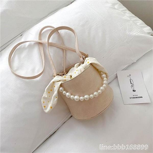 錬条包 新款潮時尚網紅洋氣流行百搭珍珠手提鏈條斜背包夏天小包包女 瑪麗蘇