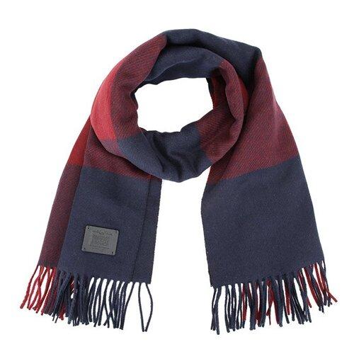 COACH 三色大格紋羊毛流蘇圍巾-紅藍