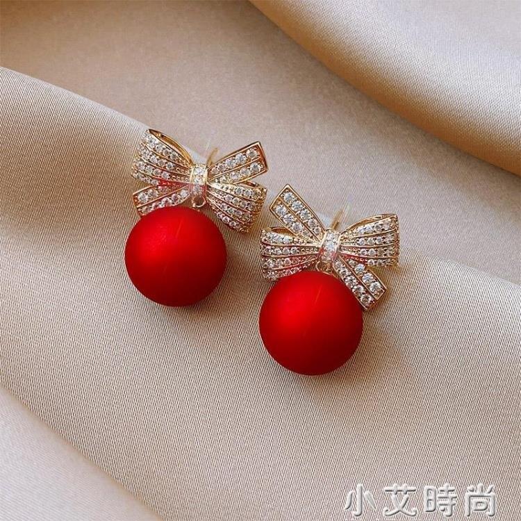 紅色耳墜年新款潮耳環女蝴蝶結珍珠耳飾氣質聖誕耳飾新年耳釘