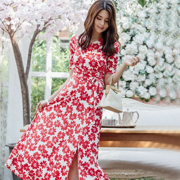 OL洋裝 禮服裙S-XL夏新款韓版時尚氣質印花顯瘦a字系帶海灘度假連身裙1916#H506紅粉佳人