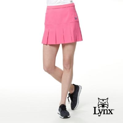 【Lynx Golf】女款日本進口布料高透濕防潑水裝飾縫扣百摺運動褲裙-粉色