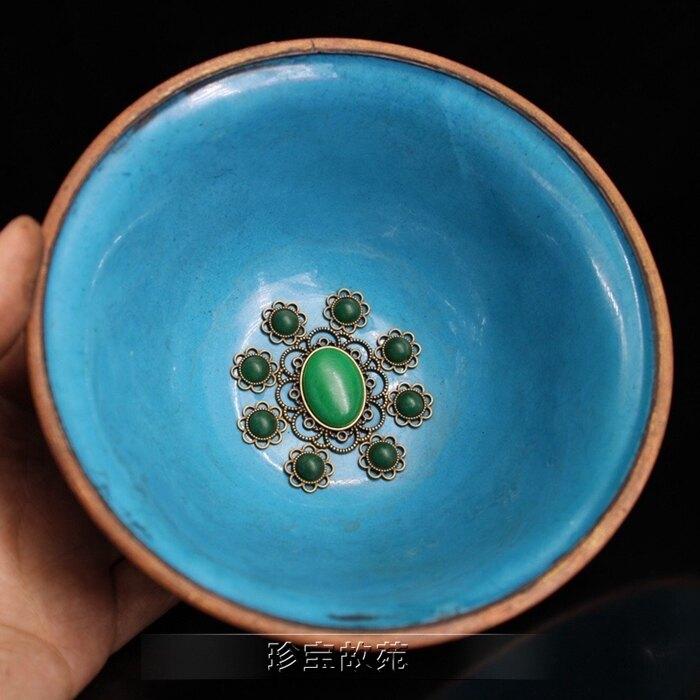 仿古銅器復古做舊純手工鑲寶石銅碗景泰藍裝飾小碗桌面博古架擺件