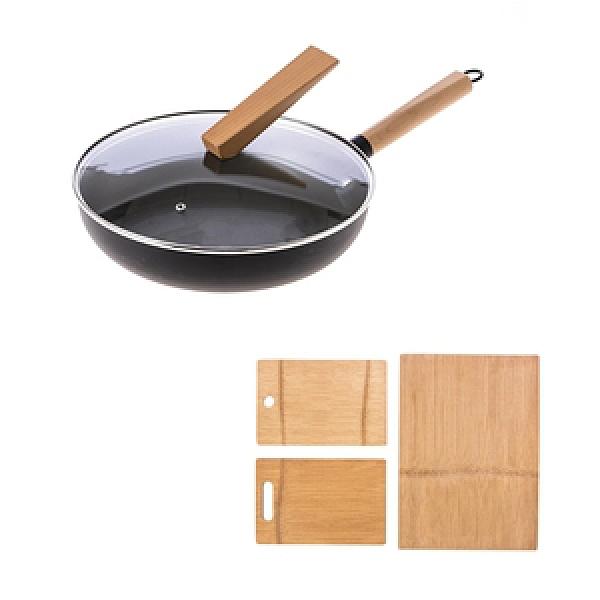 HOLA 炙鐵深煎鍋30cm+一片竹可收納3合1砧板