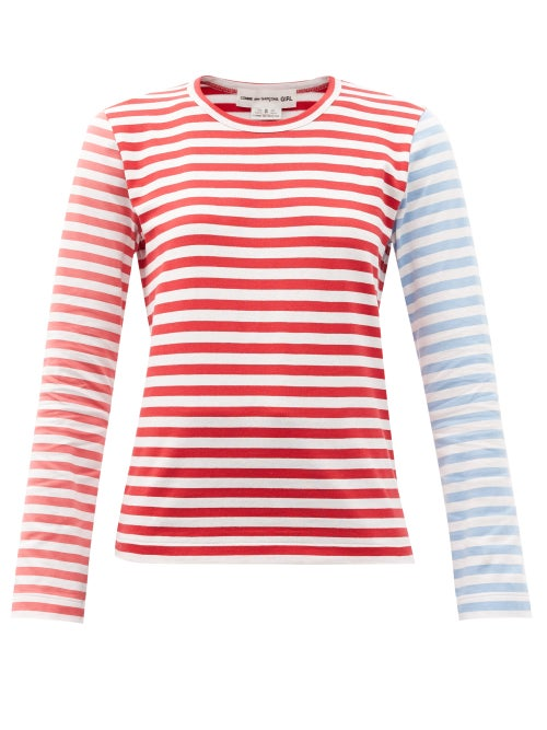 Comme Des Garçons Girl - Contrast-stripe Cotton-jersey T-shirt - Womens - Red Multi