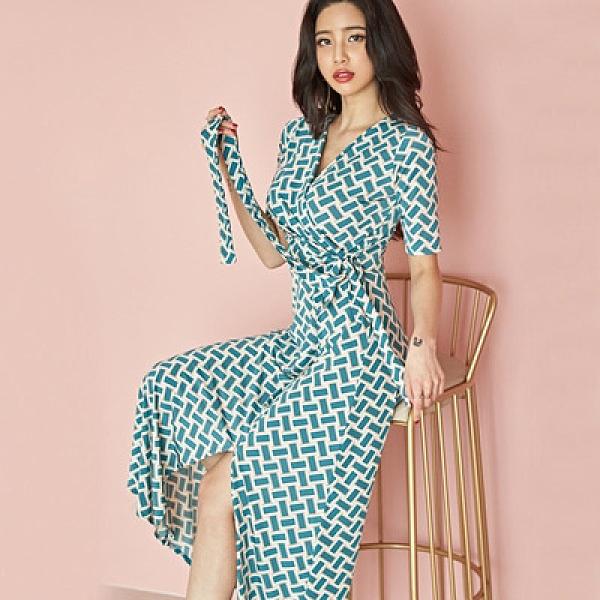 OL洋裝 裹身裙S-XL韓版時尚氣質顯瘦長款沙灘裙海灘度假連身裙子1896H506紅粉佳人
