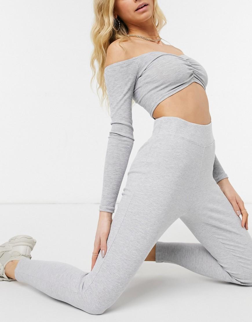 Threadbare ribbed high waisted legging in grey