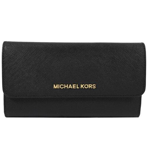 MICHAEL KORS 專櫃商品 金字LOGO防刮皮三折扣式零錢長夾.黑