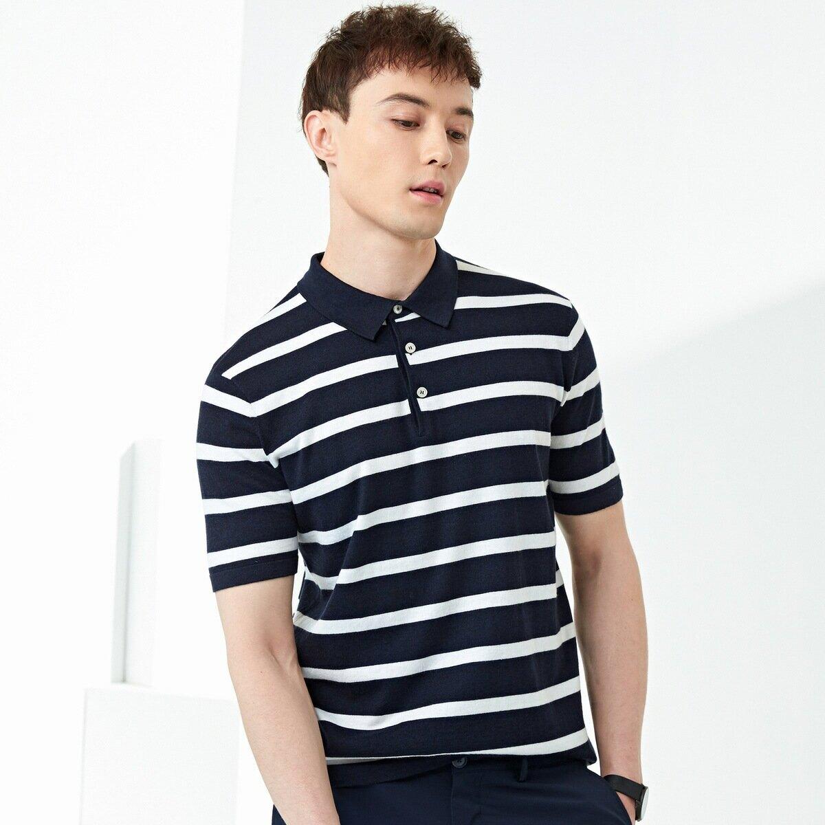 男裝2021夏款男士針織短袖t恤 翻領條紋撞色Polo衫男