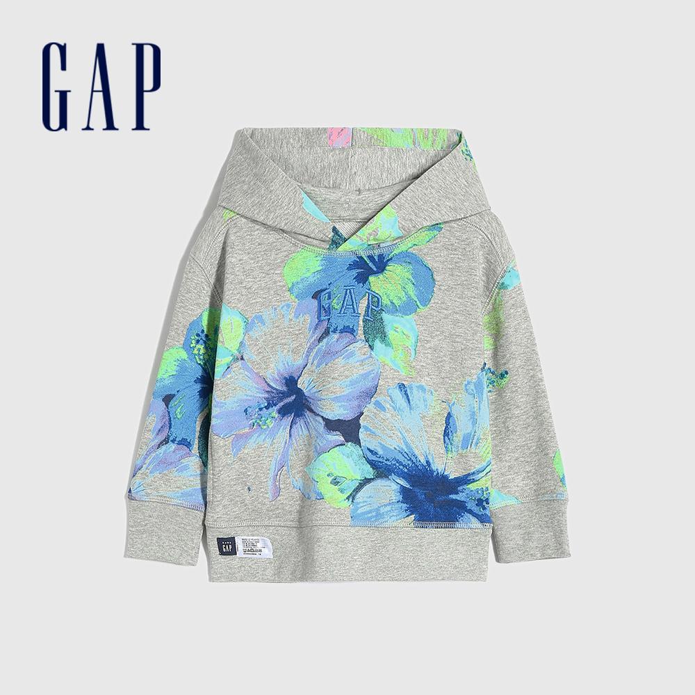 Gap 男幼童 碳素軟磨系列法式圈織Logo印花連帽休閒上衣 704956-灰色